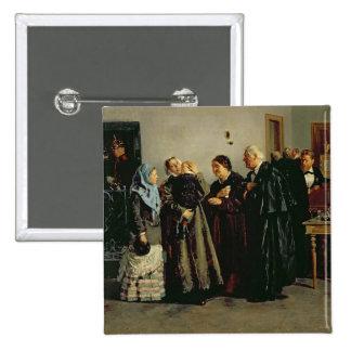 """Veredicto, """"no culpable"""", 1882 pin cuadrada 5 cm"""