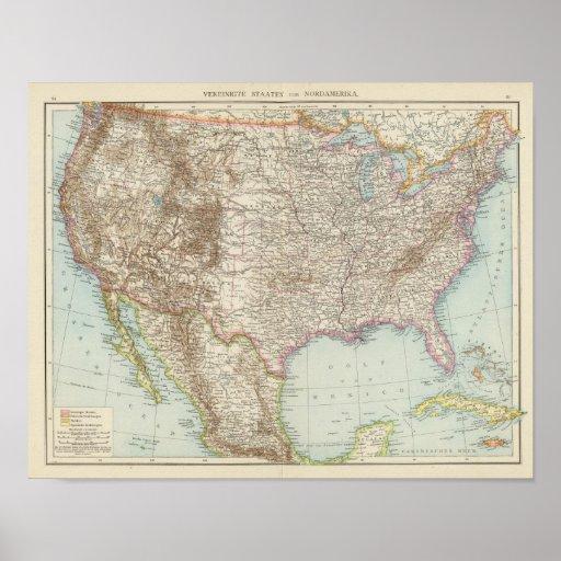 Vereinigte Staaten von Nordamerika - mapa de los E Impresiones