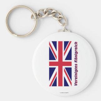 Vereinigtes Königreich Flagge mit Namen Basic Round Button Keychain