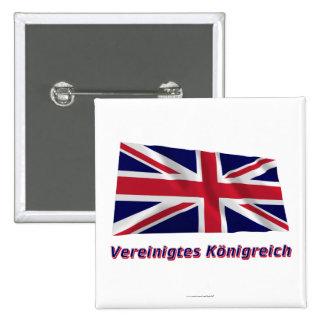 Vereinigtes Königreich Fliegende Flagge mit Namen Pinback Button