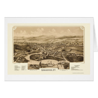 Vergennes, VT Panoramic Map - 1890 Greeting Card