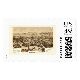 Vergennes, VT Panoramic Map - 1890 Postage Stamps