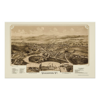 Vergennes, VT Panoramic Map - 1890 Posters