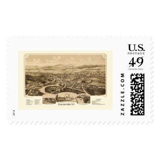 Vergennes, VT Panoramic Map - 1890 Stamp