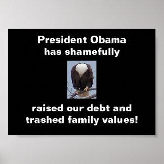 Vergüenza en el poster de la foto de presidente Ob