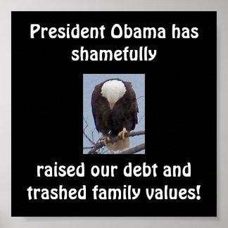 Vergüenza en Pres. Poster de la foto de Obama Eagl