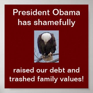 Vergüenza en presidente Obama Eagle Poster