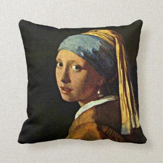 Vermeer: Chica con un pendiente de la perla (2) Cojín