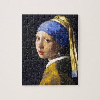 ~ Vermeer del pendiente de la perla del chica w Puzzle Con Fotos