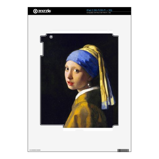 ~ Vermeer del pendiente de la perla del chica w Calcomanía Para El iPad 2