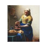 Vermeer el abrigo de la lona de la lechera impresión en lienzo