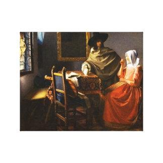 Vermeer el vidrio del abrigo de la lona del vino impresión en lienzo