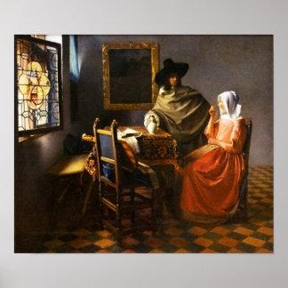 Vermeer el vidrio del poster del vino