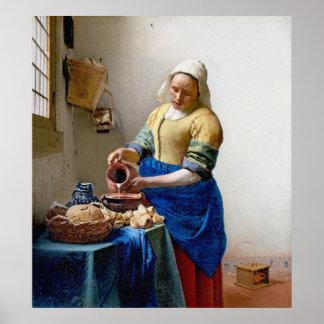 Vermeer - la lechera - arte del vintage póster