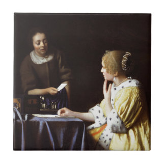 Vermeer - Mistress and Maid 1666-67 Ceramic Tile