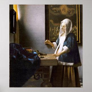 Vermeer: Mujer que lleva a cabo un equilibrio Poster