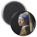 Vermeer Painting - Girl With a Pearl Earring 2 Inch Round Magnet