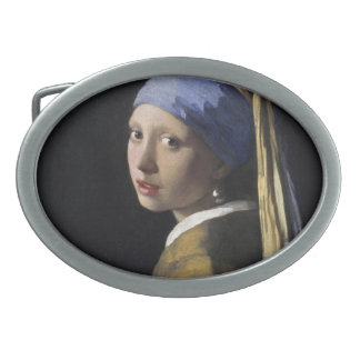 Vermeer Painting - Girl With a Pearl Earring Belt Buckle
