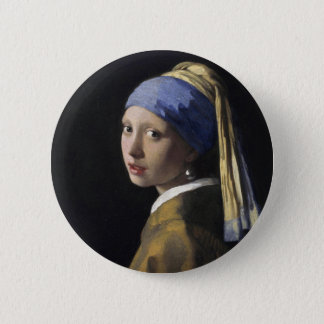 Vermeer Painting - Girl With a Pearl Earring Button