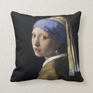 Vermeer Painting - Girl With a Pearl Earring Throw Pillows