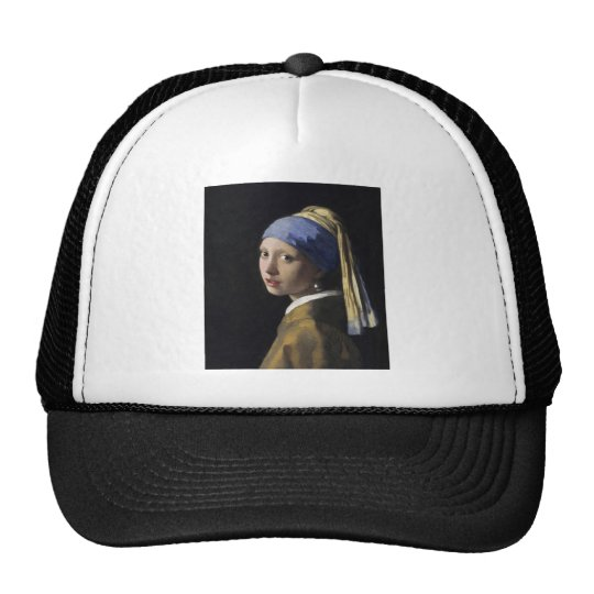 Vermeer Painting - Girl With a Pearl Earring Trucker Hat