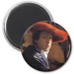Vermeer Painting - Girl with a Red Hat Magnet