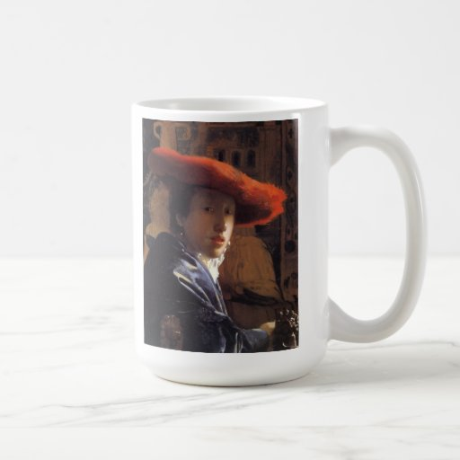 Vermeer Painting - Girl with a Red Hat Mugs