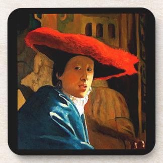 Vermeer: Red Hat: Copia de viejos maestros: Arte Posavasos De Bebida