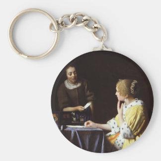 Vermeer - señora y criada 1666-67 llavero personalizado