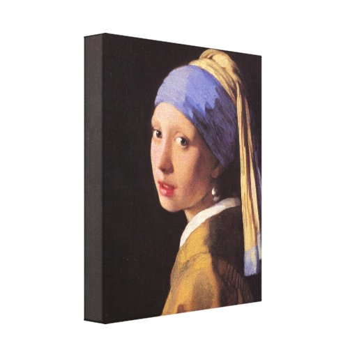 Vermeer - The girl with the pearl earring Stretched Canvas Print