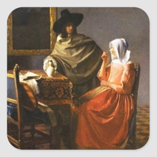 Vermeer The Glass of Wine Stickers Stickers