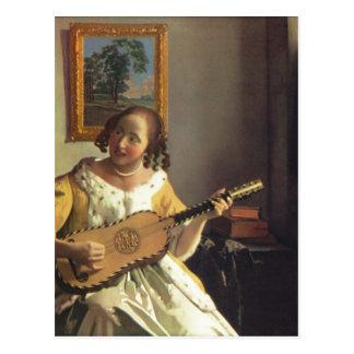 Vermeer van Delft Jan Die Gitarrenspielerin The G Postcard