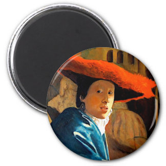 VERMEER'S GIRL WITH THE RED HAT/ OLD MASTERS FRIDGE MAGNETS