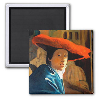 VERMEER'S GIRL WITH THE RED HAT/ OLD MASTERS FRIDGE MAGNET