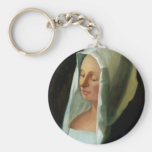 VERMEER'S LADY WEIGHING GOLD BASIC ROUND BUTTON KEYCHAIN