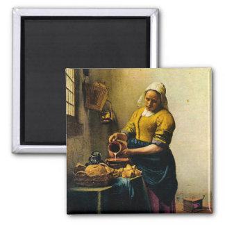 Vermeer's Maidservant Pouring Milk (circa 1660) 2 Inch Square Magnet