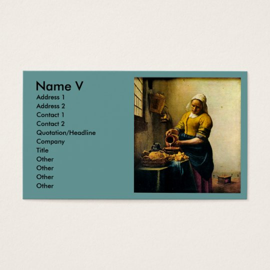 Vermeer's Maidservant Pouring Milk (circa 1660) Business Card