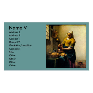 Vermeer's Maidservant Pouring Milk (circa 1660) Business Card Templates