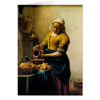 Vermeer's Maidservant Pouring Milk (circa 1660) Card