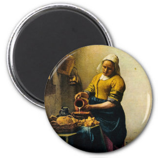 Vermeer's Maidservant Pouring Milk (circa 1660) 2 Inch Round Magnet