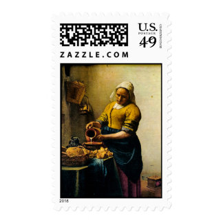 Vermeer's Maidservant Pouring Milk (circa 1660) Stamp