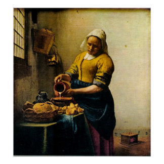 Vermeer's Maidservant Pouring Milk (circa 1660) Poster