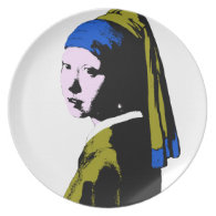 Vermeer's Pearl Earring ala Add BackColor) Party Plate