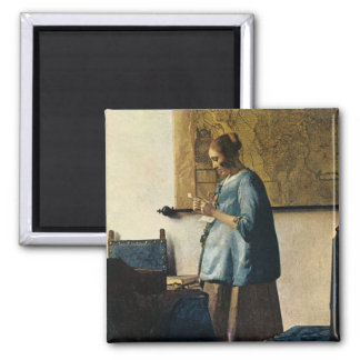 Vermeer's Woman in Blue Reading a Letter ca.1665 2 Inch Square Magnet