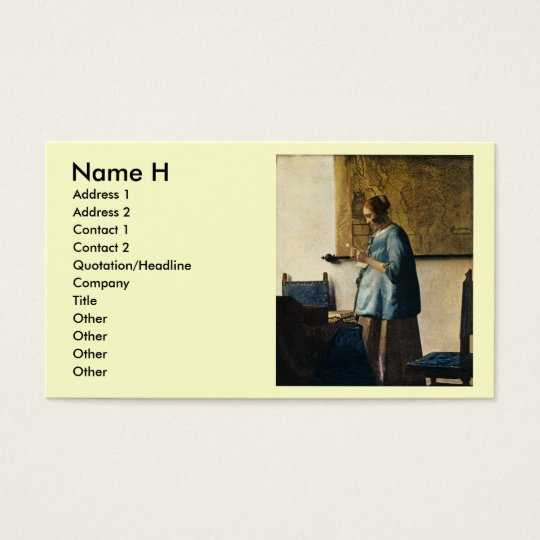 Vermeer's Woman in Blue Reading a Letter ca.1665 Business Card