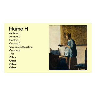 Vermeer's Woman in Blue Reading a Letter ca.1665 Business Card Template