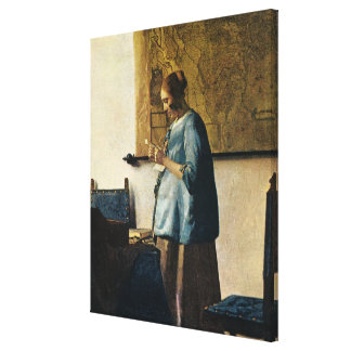 Vermeer's Woman in Blue Reading a Letter ca.1665 Canvas Print