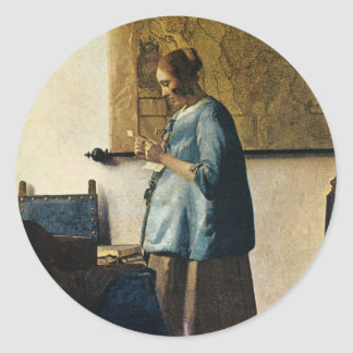 Vermeer's Woman in Blue Reading a Letter ca.1665 Classic Round Sticker