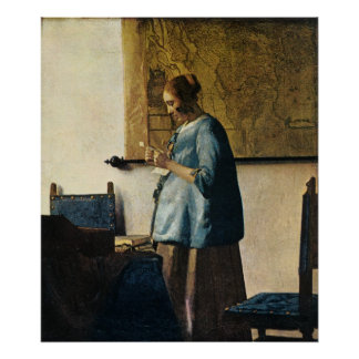 Vermeer's Woman in Blue Reading a Letter ca.1665 Poster