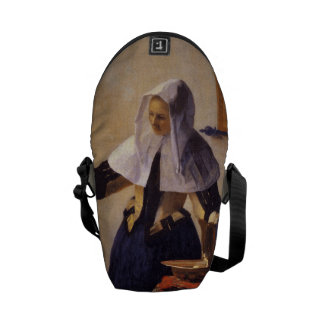 Vermeer's Woman with Water Pitcher Messenger Bag